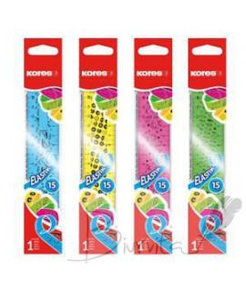 Lanksti liniuotė KORES ELASTIC, 15 cm, įvairių spalvų