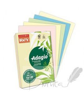 Popierius ADAGIO A4 80 g. 5 x100 l. pastelinės spalvos