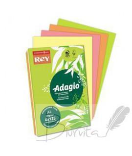 Popierius REY ADAGIO A4, 80 g. 4 x 125 l. ryškios spalvos