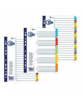 Skirtukai FORPUS A4, 1-12, plastikiniai, spalvoti