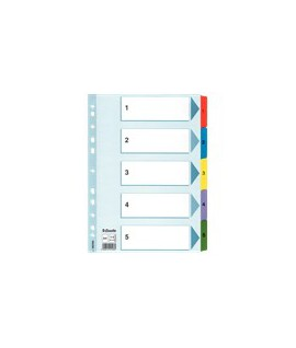 Skirtukai ESSELTE A4, 1-5, spalvoti, plastikiniai