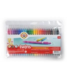 Flomasteriai dvipusiai Twins KOH-I-NOOR, 24 spalvos