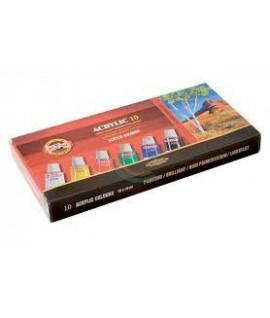Akriliniai dažai KOH-I-NOOR, 16 ml. 10 spalvų