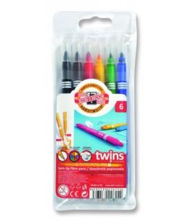 Flomasteriai dvipusiai Twins KOH-I-NOOR 6 spalvos