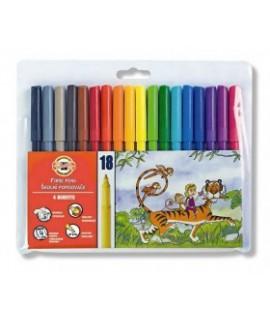 Flomasteriai KOH-I-NOOR, 18 spalvų