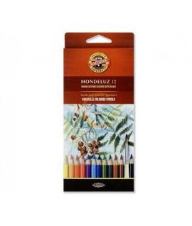 Spalvoti akvareliniai pieštukai KOH-I-NOOR, 12 spalvų