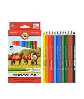 Spalvoti pieštukai KOH-I-NOOR JUMBO, trikampiai, 12 spalvų
