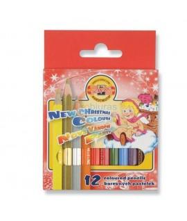 Spalvoti trumpi pieštukai KOH-I-NOOR ( Kalėdiniai) , 12 spalvų