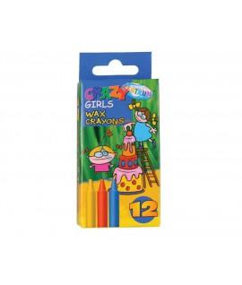 Kreidelės vaškinės CENTRUM CRAZY GIRLS 12 spalvų 80593