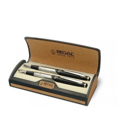 Rašiklių rinkinys dėžutėje REGAL sidabro spalva/juoda 25200