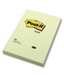 Lipnūs lapeliai POST-IT , langeliais, 102 x 152 mm, 100 lapelių, geltonos spalvos