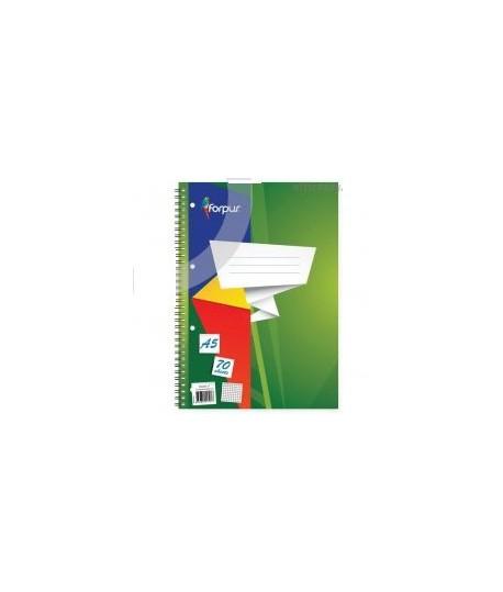 Sąsiuvinis su spirale FORPUS A5, 70 lapų, langeliais