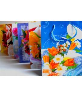 Krepšelis dovanoms 26 x 32 cm gėlės 030096