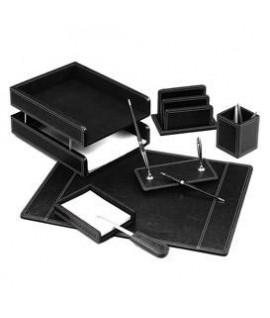 Darbo stalo rinkinys FORPUS, 7 dalių, juodos odos