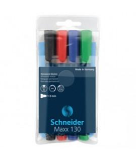 Permanentinis žymeklis Schneider Maxx 130, 4 spalvų rinkinys