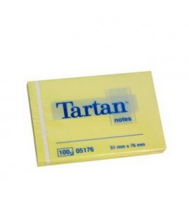 Lipnūs lapeliai TARTAN 51 x 76 mm, geltoni, 100 lapelių