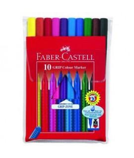 Flomasteriai Faber Castell GRIP, 10 spalvų