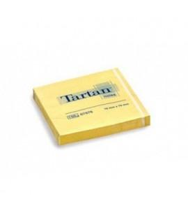 Lipnūs lapeliai TARTAN 76x76mm, geltoni, 100 lapelių