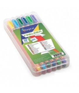 Rašiklių rinkinys FORPUS FINELINERS, 12 spalvų, 0,4 mm