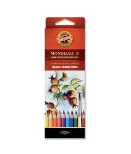 Spalvoti akvareliniai pieštukai KOH-I-NOOR, 18 spalvų