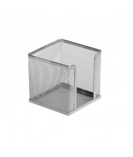 Dėžutė užrašų lapeliams ICO, 9,5 x 9,5 cm, sidabrinės spalvos