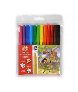Flomasteriai KOH-I-NOOR, 12 spalvų