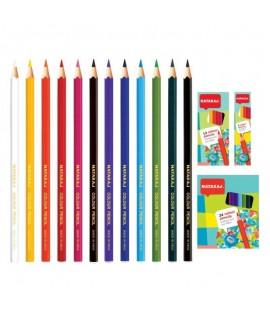 Spalvoti pieštukai NATARAJ, 12 spalvų su drožtuku