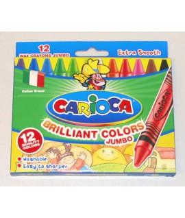 Kreidelės vaškinės CARIOCA JUMBO, 12 spalvų