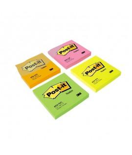 Lipnūs lapeliai POST-IT, NEON, 76 x 76 mm, 100 lapelių, geltona