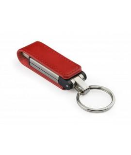 Duomenų kaupiklis USB 4GB, odiniame raudoname dėkle