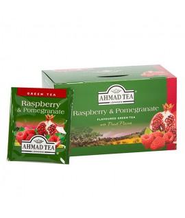 Žalioji arbata AHMAD GREEN RASPBERRY & POMEGRANATE, 20 vokelių su siūlu