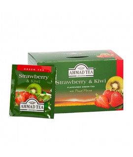 Žalioji arbata AHMAD GREEN STRAWBERRY & KIWI, 20 vnt.