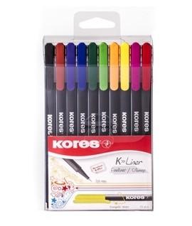 Rašiklių rinkinys KORES K-LINER , 0,4 mm, 10 spalvų
