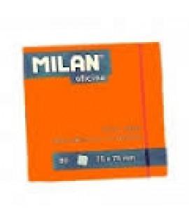 Lipnūs lapeliai MILAN NEON 76 x 76 mm, 100 lapelių, oranžinė sp.