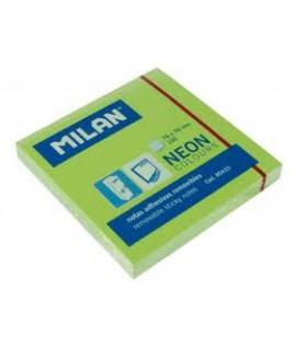 Lipnūs lapeliai MILAN NEON 76 x 76 mm, 100 lapelių, žalios sp.
