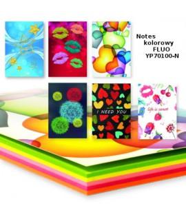 Bloknotas PENWORD, B7, 130 x 90 mm, ryškių spalvų lapai, 80 lapų