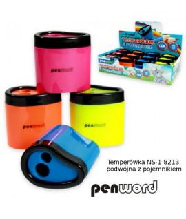 Drožtukas PENWORD 2-jų geležčių, su konteineriu, įv. spalvų