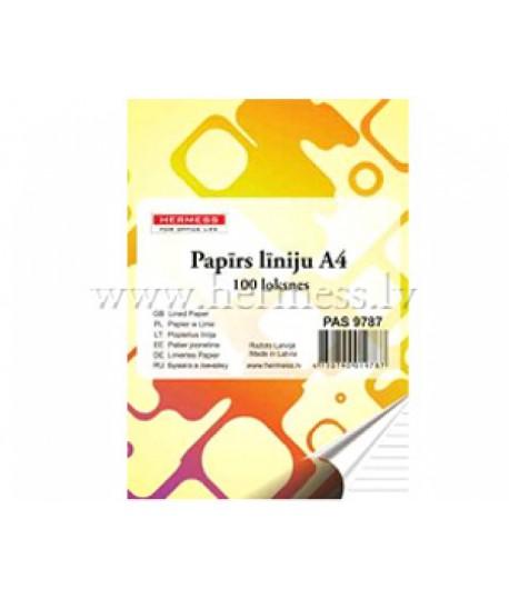 Rašomasis popierius HERMESS, A4, 100 lapų, linija, 4 skylės