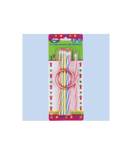 Lanksčių plastikinių pieštukų rinkinys CENTRUM 6 vnt., su trintuku