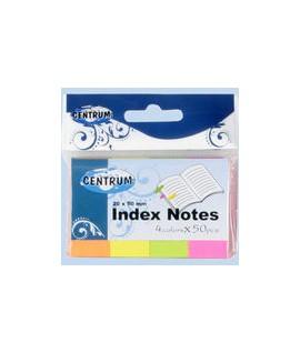 Popieriniai indeksai- žymekliai CENTRUM, 4 spalvos po 50 vnt. , 20 mmx 50 mm,