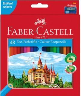 Spalvoti pieštukai Faber Castell Castle, 48 spalvos su drožtuku