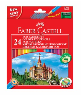 Spalvoti pieštukai Faber Castell Castle, 24 spalvos su drožtuku