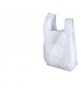 Maišeliai su rankenomis 30 x 18 x 55 cm, 25 mikr. 100 vnt. balta
