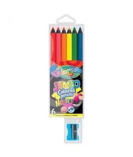 Spalvoti pieštukai COLORINO JUMBO NEON, su drožtuku, 6 sp.