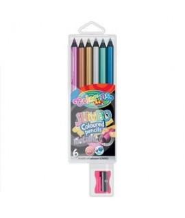 Spalvoti pieštukai COLORINO JUMBO METALIC su drožtuku, 6 sp.