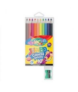 Spalvoti pieštukai COLORINO KIDS su drožtuku, 10 sp.
