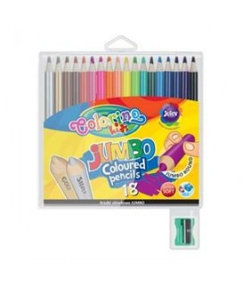 Spalvoti pieštukai COLORINO KIDS su drožtuku, 18 sp.