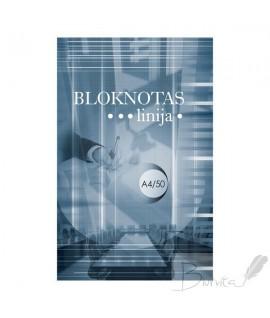 Bloknotas OFFICE A4, klijuotas, 50 lapų, linija