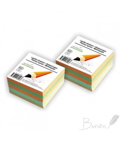 Lapeliai užrašams 90 x 90 , 500 lapelių , įvairių spalvų