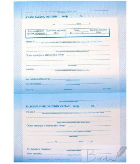 Kasos pajamų orderis A4, 50 lapų (EUR)